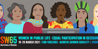 CSW65 - horizontal poster: Women's full and effective participation and decision-making in public life
