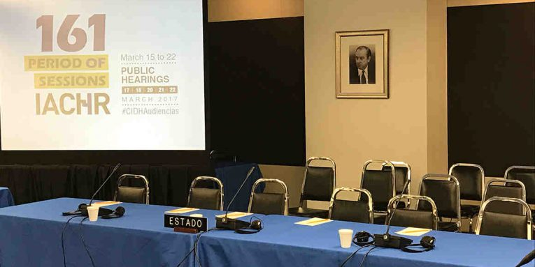 Empty seats at the Inter-American Commission on Human Rights is meeting in Washington, D.C.