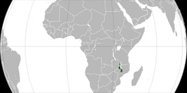 World Map showing Malawi