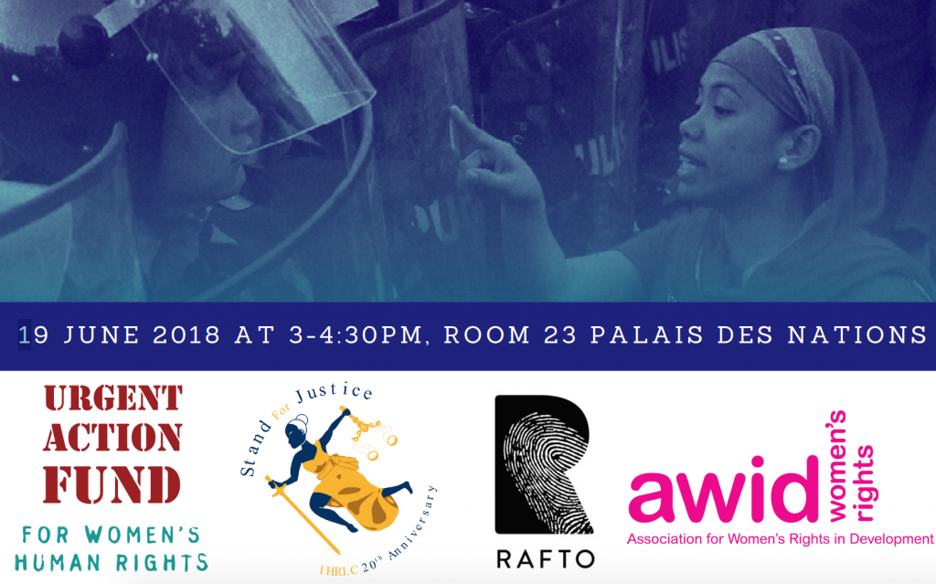 HRC38 Event Flyer WHRDs Rights Eroded AWID RAFTO UAF