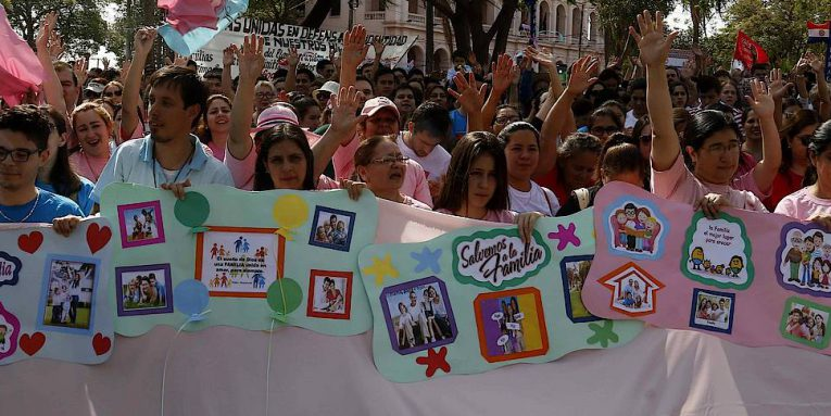 Hundreds of people take part during a demonstration in front of the Paraguayan Congress in Asuncion to claim a public education system based on traditional family values.